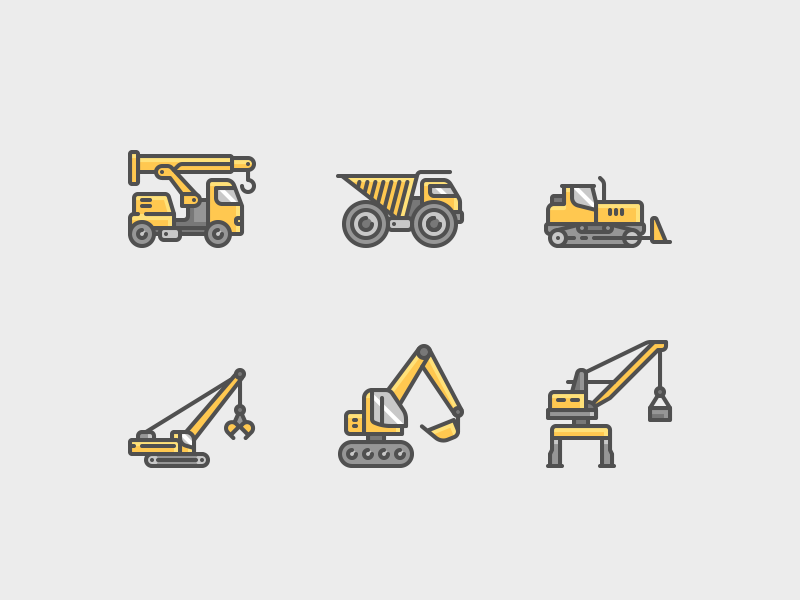Construction Machines Icons color line icons