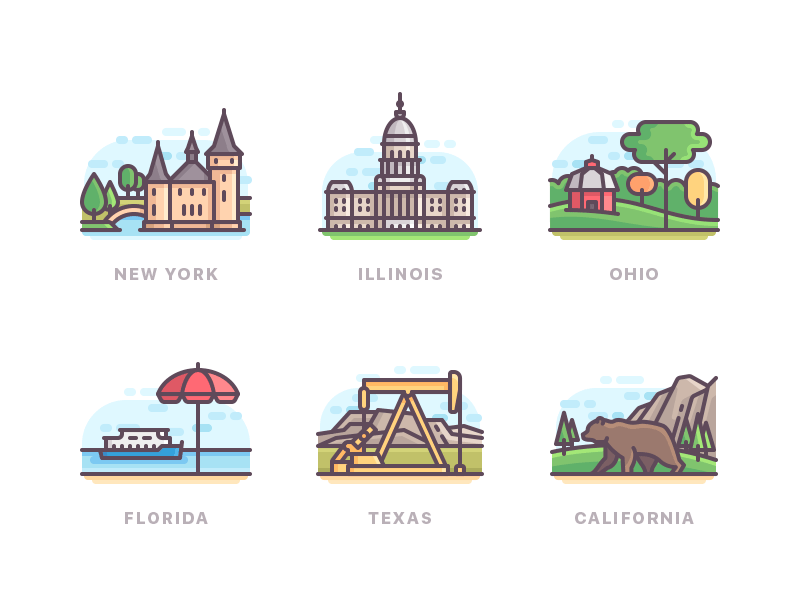 US states line buildings nature travel color icons