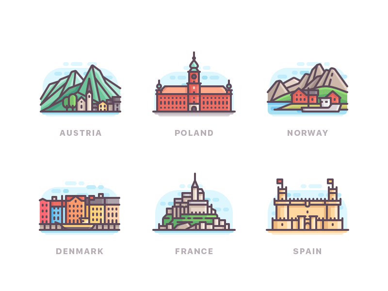Some countries of Europe city line travel nature buildings icons color