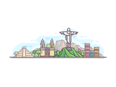 South America panorama travel nature line illustration color city buildings