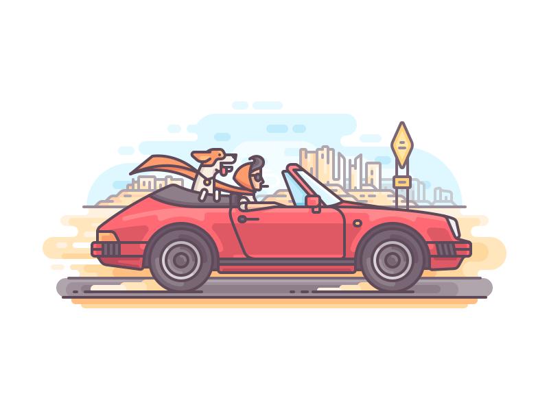 Arizona girl nature travel character dog porsche car line illustration color