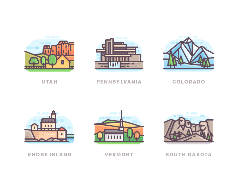 US states travel nature line icons color buildings