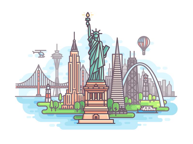 USA travel nature line illustration color city buildings