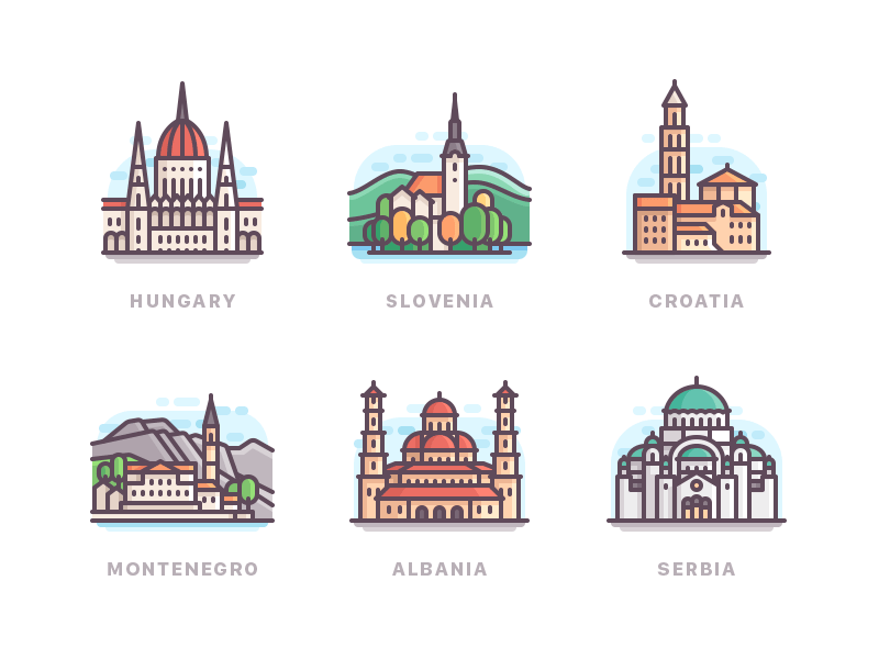 Some countries of Europe color icons buildings nature travel line city