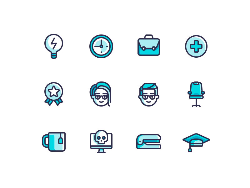 Office Icons office line icons color character