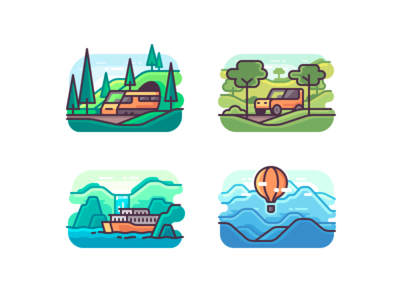 Journey hot air balloon ferry suv train travel nature line icon illustration color