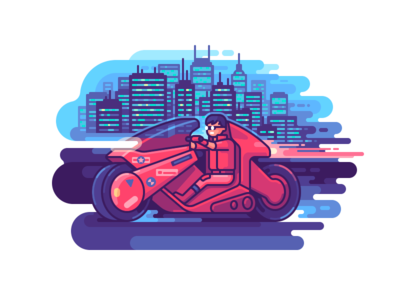 Akira fanart anime character cyberpunk motorcycle city line illustration color