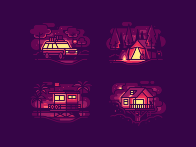 Night and Light camp tent treehouse lifeguard tower suv travel nature line icons illustration color