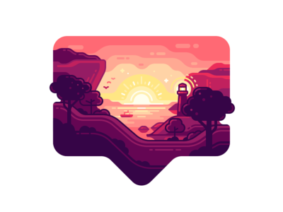 Insta Sunrise heart coast sea lighthouse sunset instagram like nature travel color illustration