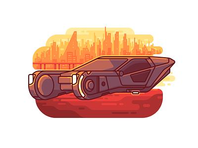 Blade Runner Car 2049 line illustration future fanart cyberpunk color city car blade runner