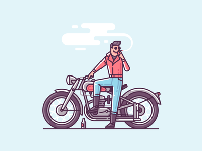 Bad guy from the 50s cigarette smoke motorbike motorcycle character line color illustration