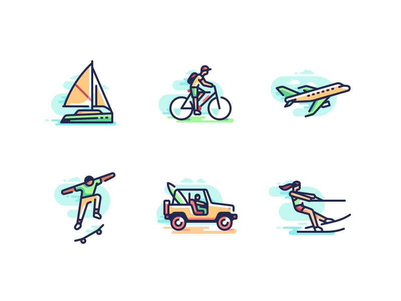 Summer is coming boat water skiing suv skateboarding plane bicycle character travel color line icons illustration
