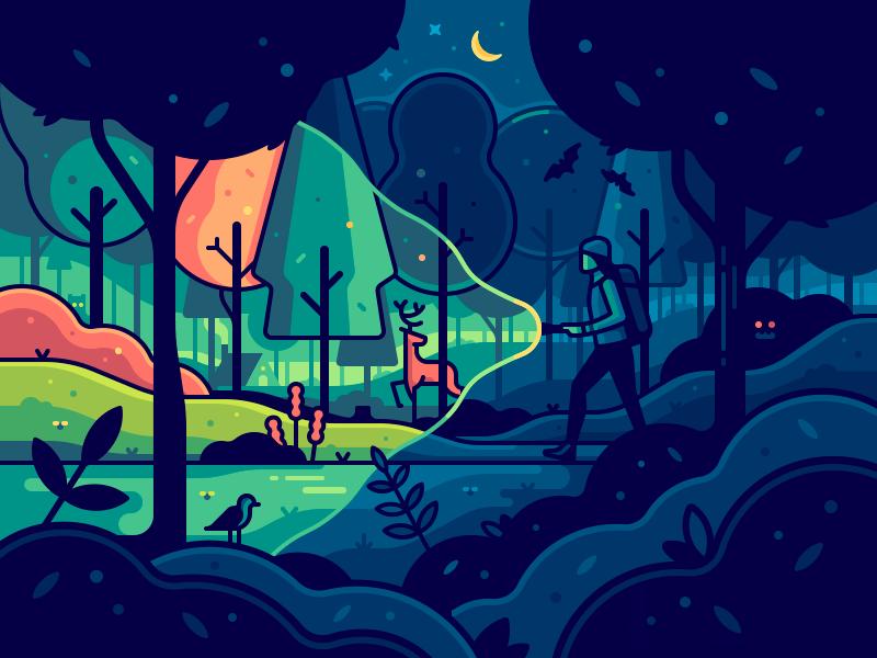 Magic Forest moon deer trees travel night light illustration flashlight fantasy color character