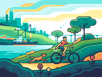 Ecology ship sky dog character bicycle sea factory travel landscape nature color illustration