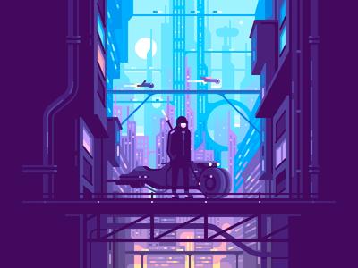 Dystopia futuristic skyline bridge bike city future cyberpunk character color illustration