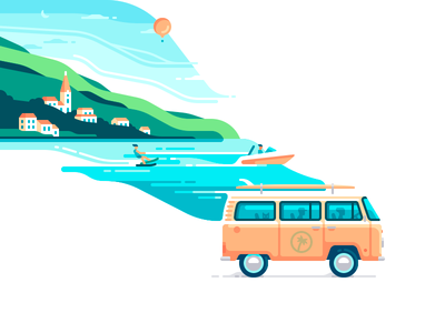 Bye Bye Summer trip bay water skiing surfing car sea nature travel shape color illustration
