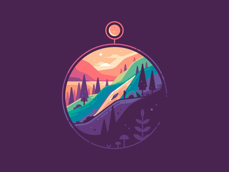Compass moon dawn sunset shape landscape nature travel color illustration