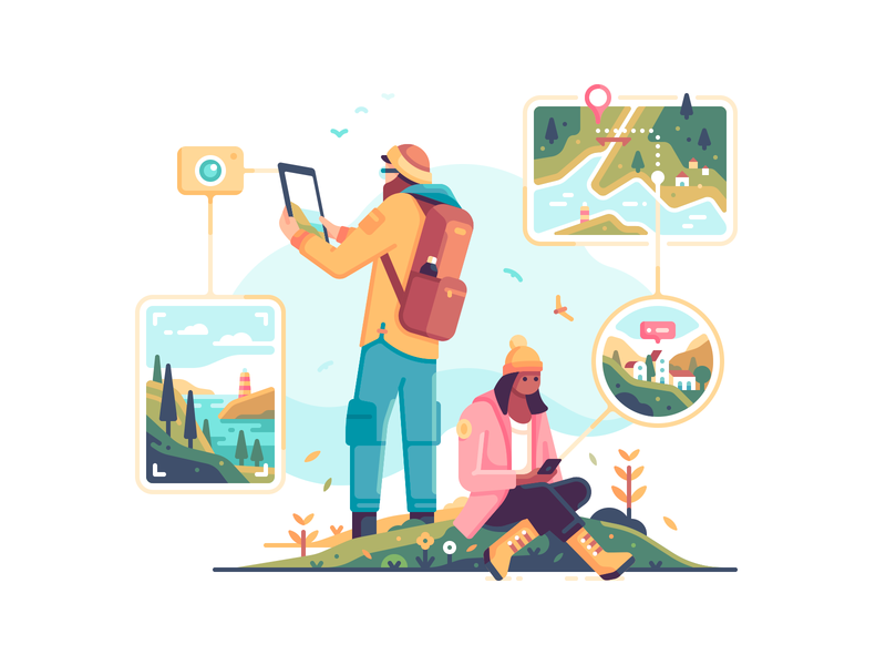 Hiking autumn interface ui people exploration map photo navigation travel nature character color illustration