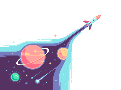 Rocket stars exploration universe planet space shape color illustration