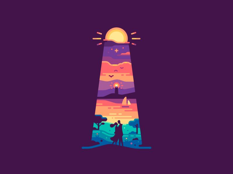Lighthouse bay sea moon dawn sunset shape landscape travel nature illustration color