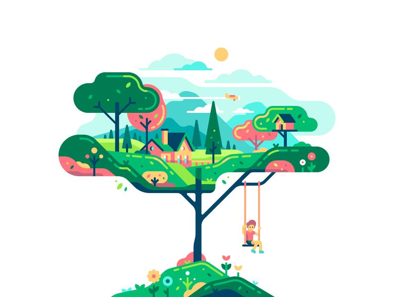 Tree boy village shape swing childhood child character color illustration