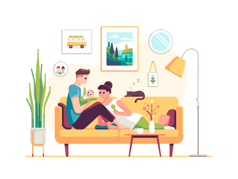 Family interior furniture cat baby people character color illustration