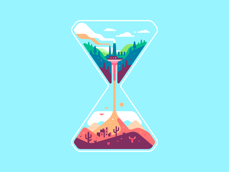 Hourglass time ecology desert factory shape nature color illustration