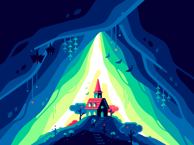 Cave house fantasy fairy dark light nature color illustration