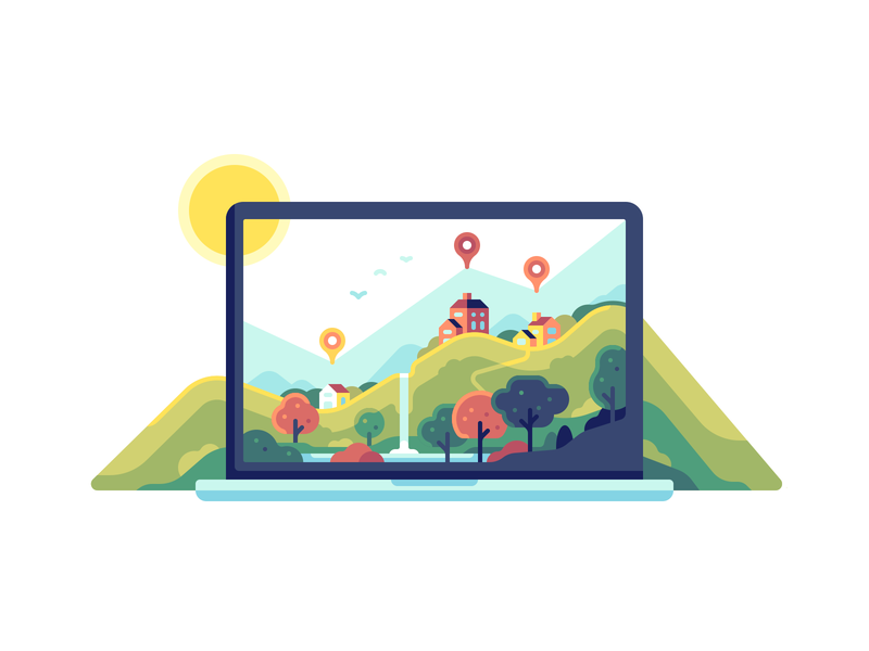 Real Estate property graph ui screen laptop nature color illustration