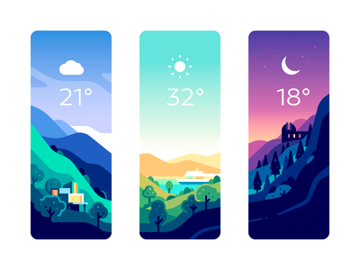 Weather Cards app card ui nature color illustration