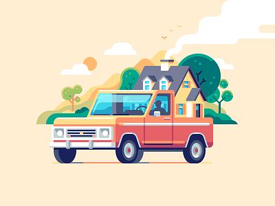 Pickup Truck house car nature color illustration