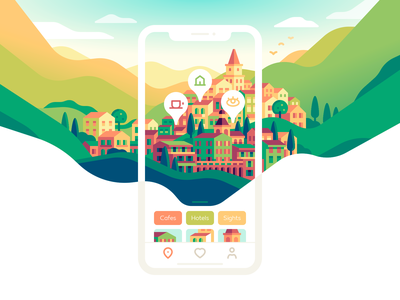 Traveling Guide Concept mobile map ui vector design travel nature color illustration
