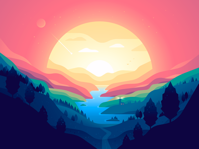 Sphere lighthouse sun sunset mountains bay landscape shape nature color illustration