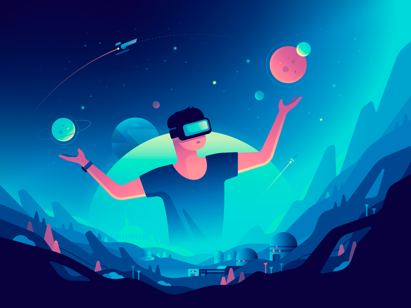 Virtual Reality game planet vr space gradient character color illustration