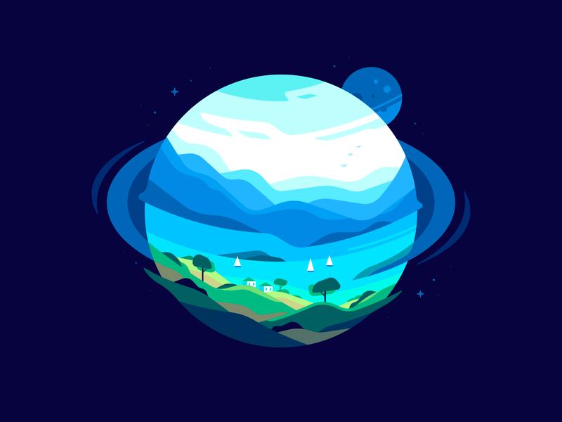 Planet shape space bay landscape nature sphere illustration color