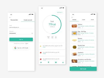 Calorie Counter   FitGuru mobile ui calorie cunterapp calorie cunterapp fitness app mobile app design adobexd