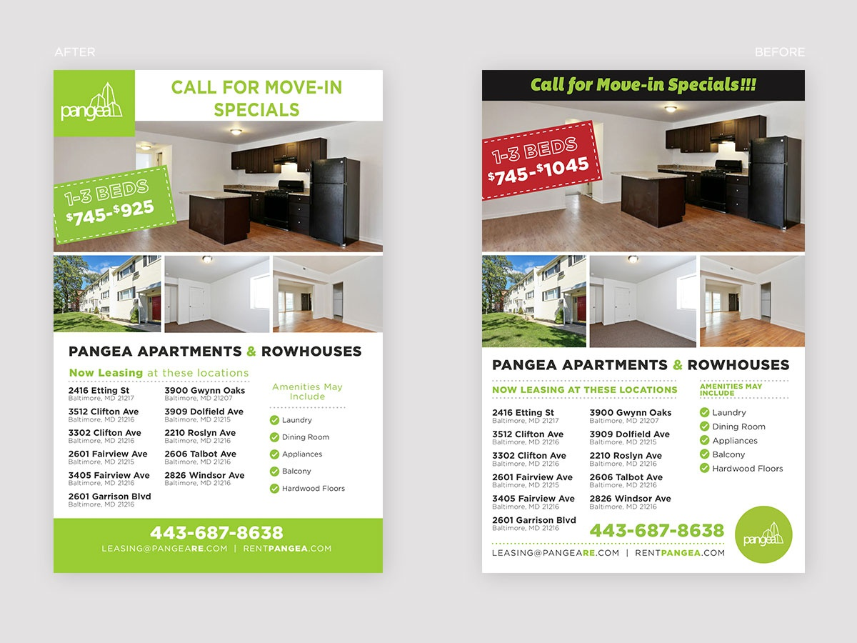 Flyer Refresh and Redesign redesign flyer print green chicago real estate pangea real estate pangea properties pangea