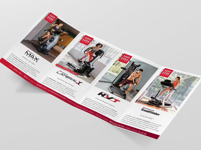 Brochure Design mailer marketing fitness print brochure bowflex