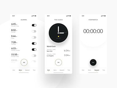 Clock app minimalistic brand design brand navigation apple app minimalistic minimal minimalist web ux ui logo design alarms los angeles new york clock app clock