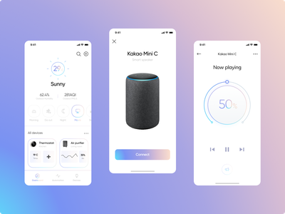 Remote control app like radesign redesign ux apple musician remote control movie navigation sunny weather speaker music controller volume gradient balkan ui design app