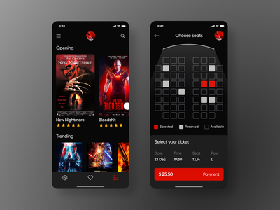 Cinema app gradient croatia montenegro serbian designer radesign ticket payment navigation rating seats movie red black cinema4d cinema design balkan ui apple app