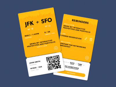 Boarding Pass with Reminders yellow weather travel flight card swipe reminder ticket boarding pass pass ui
