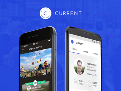 Current by Capture profile job news ui product photography interface ios design blue android app