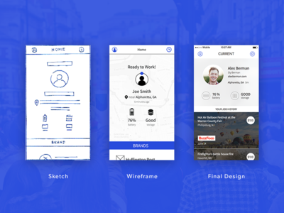 Current by Capture: Sketch to Design wireframe ui sketch product photography process mobile ios interface design blue app
