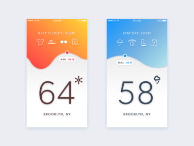 Tell Me What to Wear: A Weather App Concept weather ui sunny rainy orange interface ios graph design concept blue app