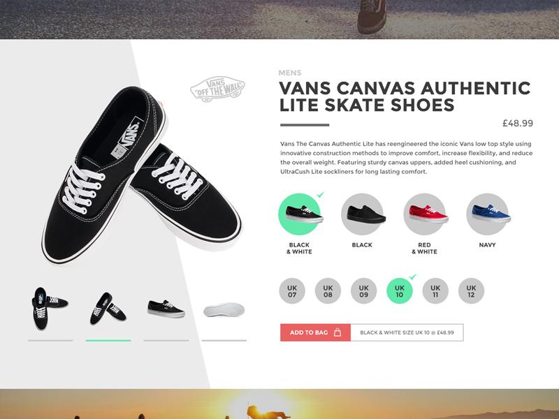 Shoe ecommerce product card skating shoes vans ecommerce product