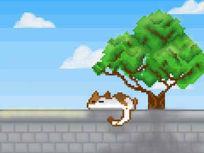Lazy Cat pixel digital art pixel art cat wallpaper illustration