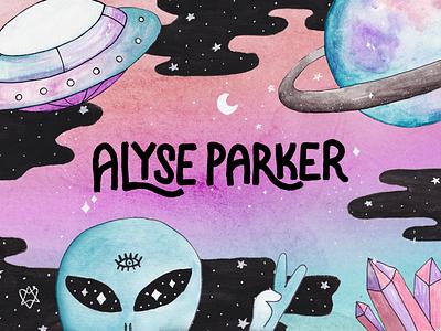 Alyse Parker Brand Design crystals alien space saturn spaceship branding watercolor