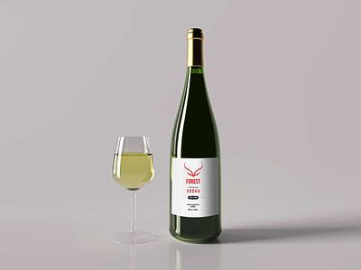 Forest Wine Bottle Mockup drink alcohol wine bottle freebies mockup motion graphics illustration website animation graphic design design branding