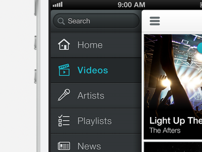 Music Nav music ui iphone app ux white picons helvetica neue search side nav hidden selected devrocket
